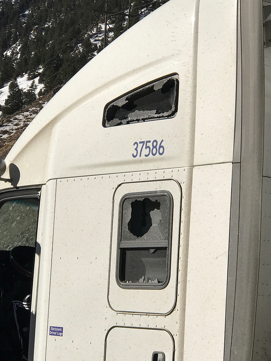 A semi window broken by high winds on the I-70 Mountain Corridor, Friday, Feb. 10, 2017
