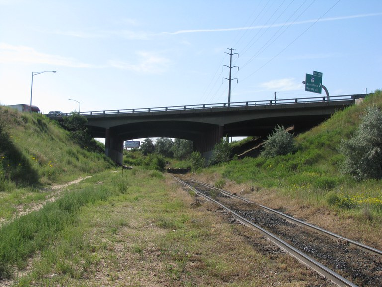 Westbound I-70 over the Union Pacific Railroad
