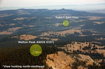 Aerial view of the Walton Peak AWOS (C07) looking north-northeast.