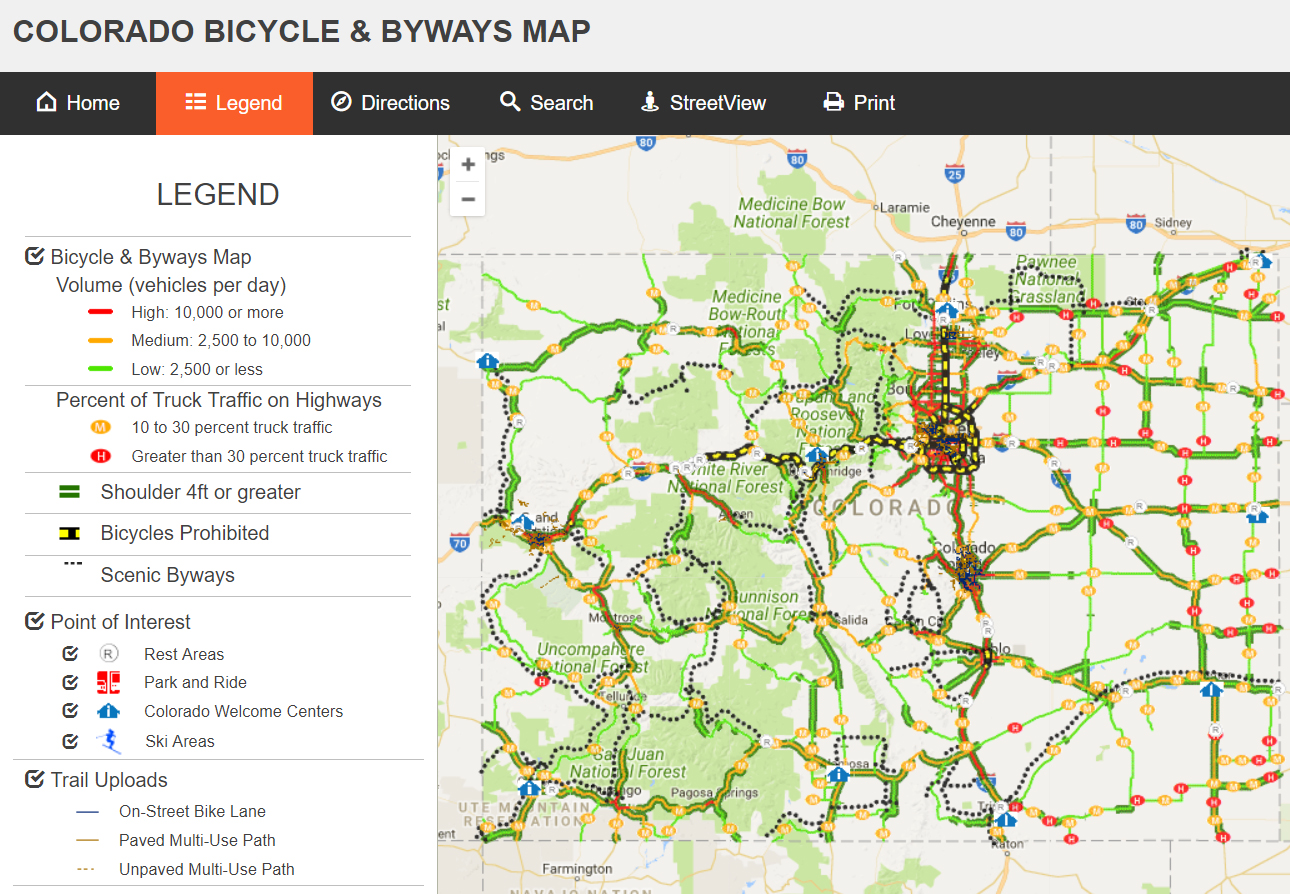 Colorado Bicycling Map - Colorado road maps