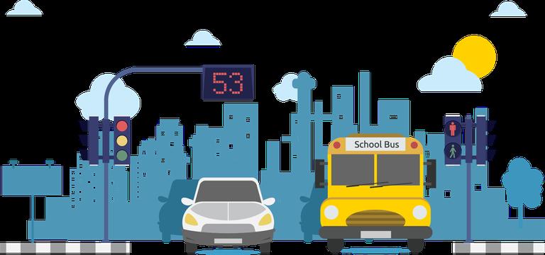 Vehicles at stop light