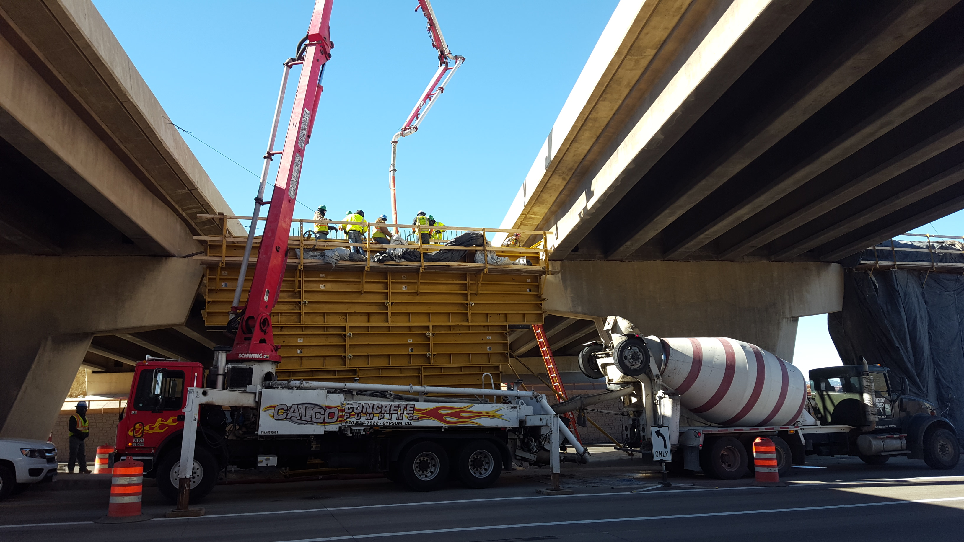 Concrete Pour into Broadway Bridge Foundations