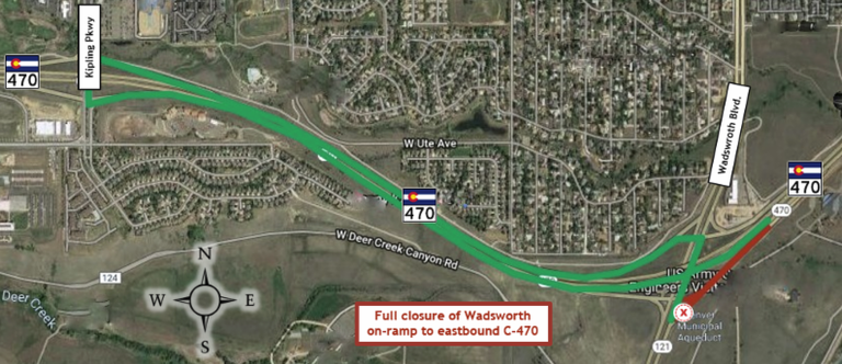 Kipling Detour for Wadsworth EB On-Ramp Closure