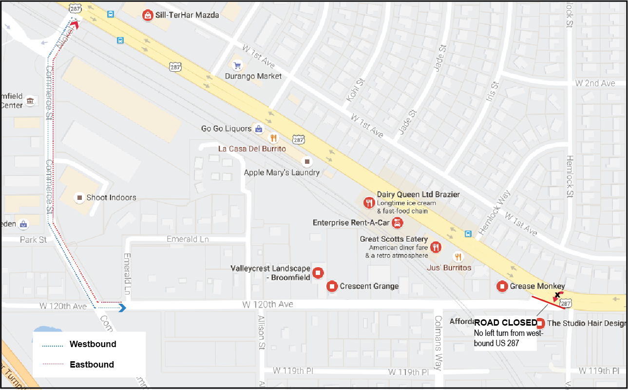 120th Avenue Detour Map Sept. 2016