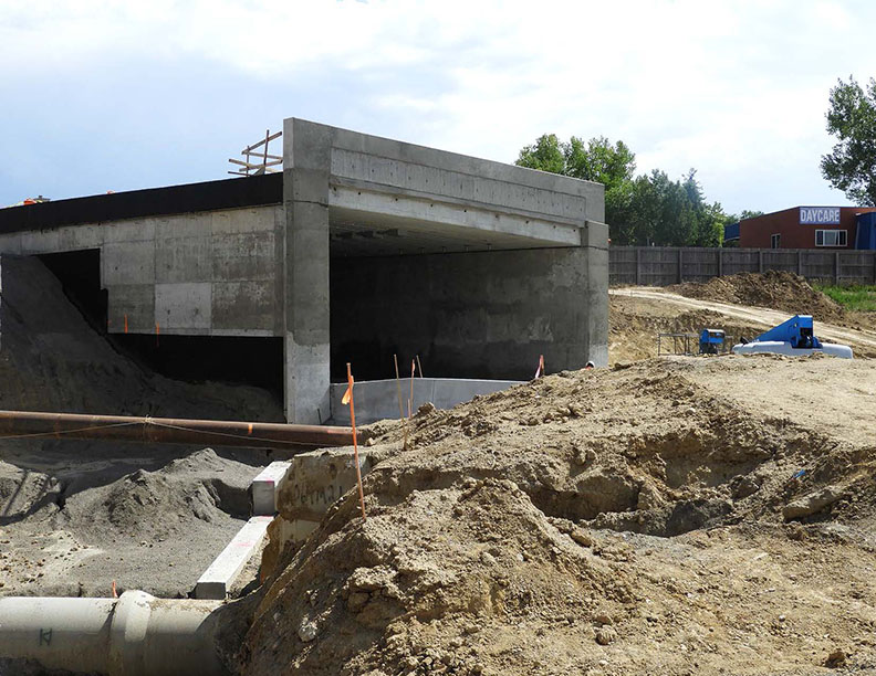 RTD bus tunnel on the west side of I-25 exiting to the Wagon Road Park-n-Ride lot