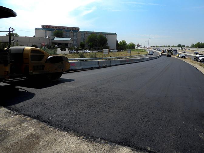 Asphalt paving on 120th off-ramp on northbound I-25