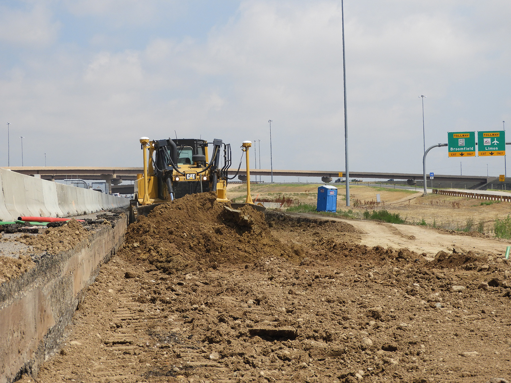 Ground prep for asphalt south of the Northwest Parkway/E-470 ramps on northbound I-25