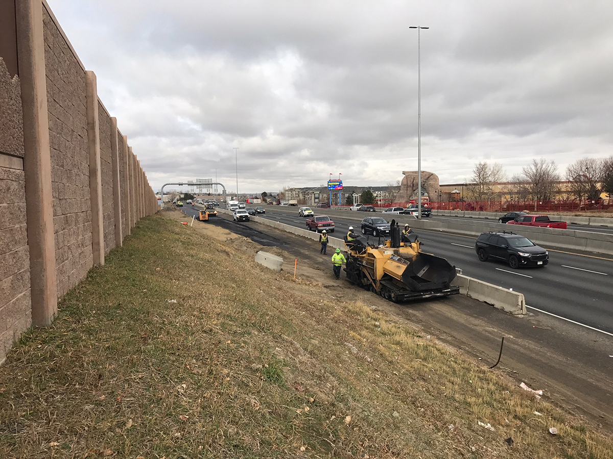 Paving along southbound I-25 between 120th Avenue and Community Center Drive looking north