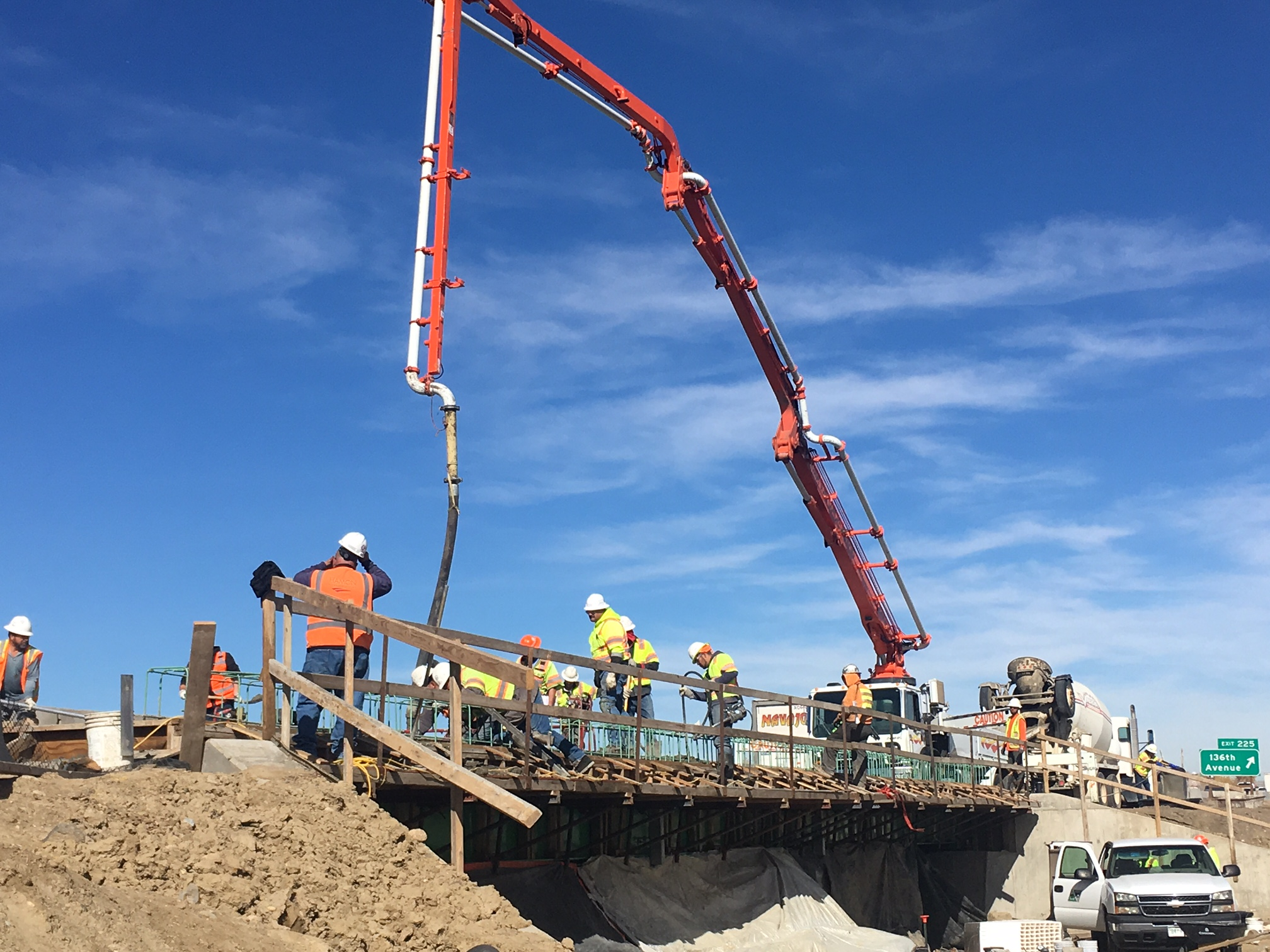 Big Dry Creek Deck Pour 2 - east side I-25 looking north