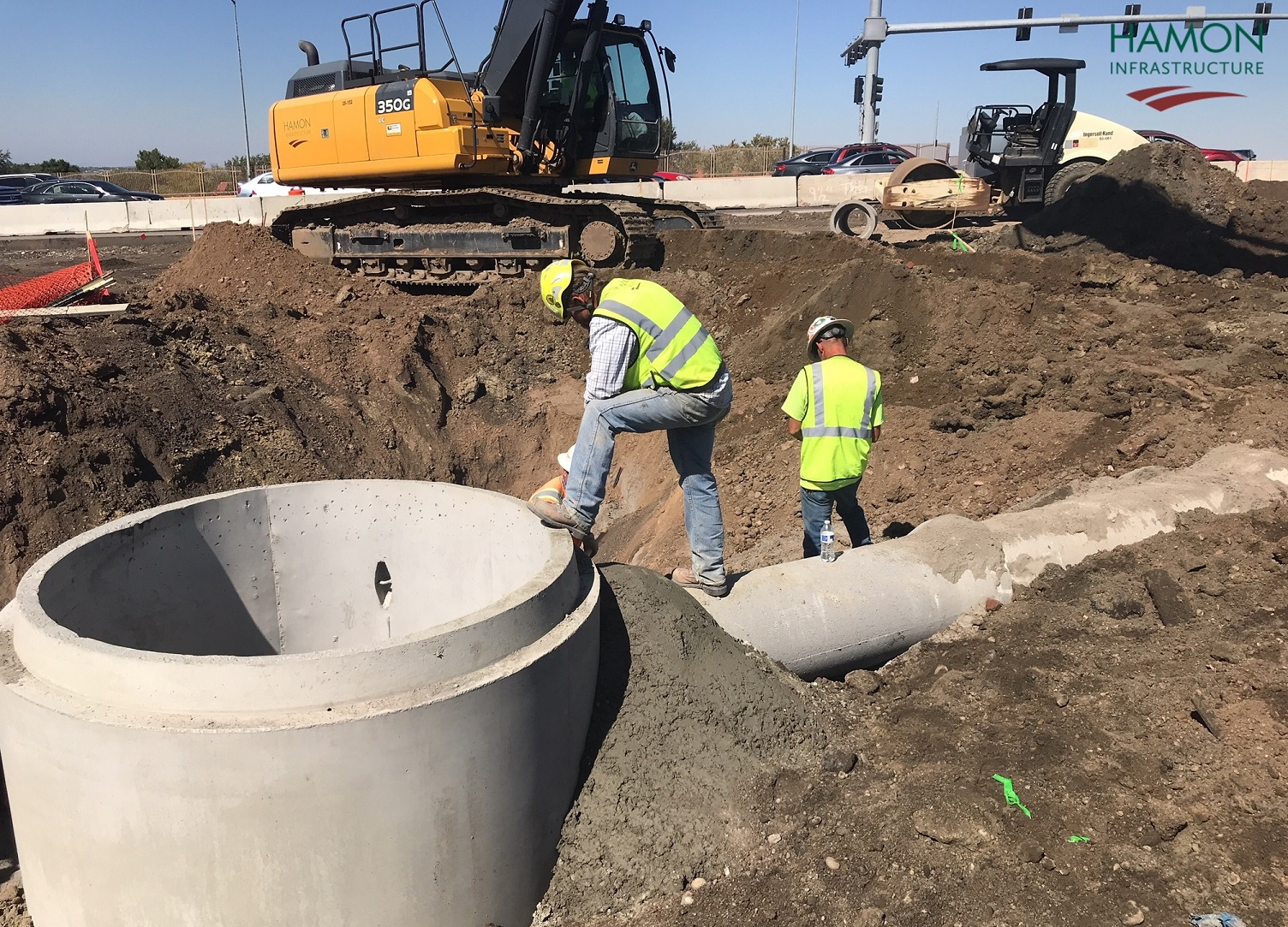 120th Avenue, southbound I-25 on-ramp, installation of manhole and drainage pipe