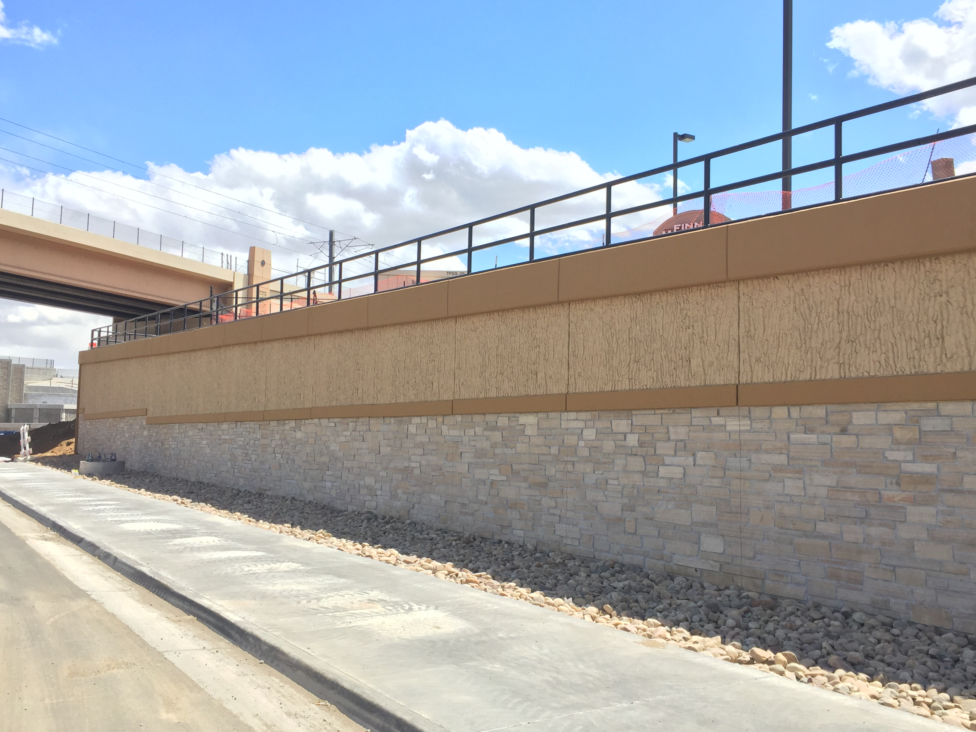 New wall south of Arapahoe Road - April 2017