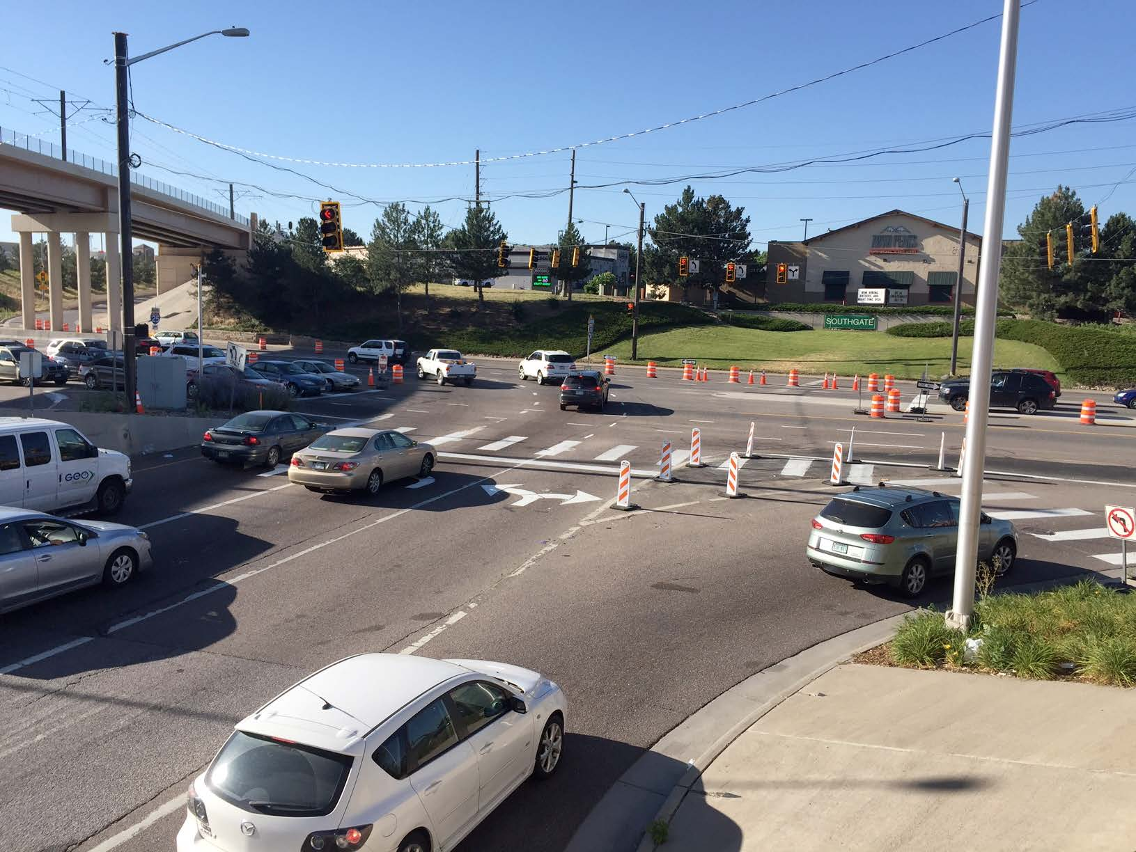 Southbound I 25 off ramp left turn lane added to Arapahoe Road