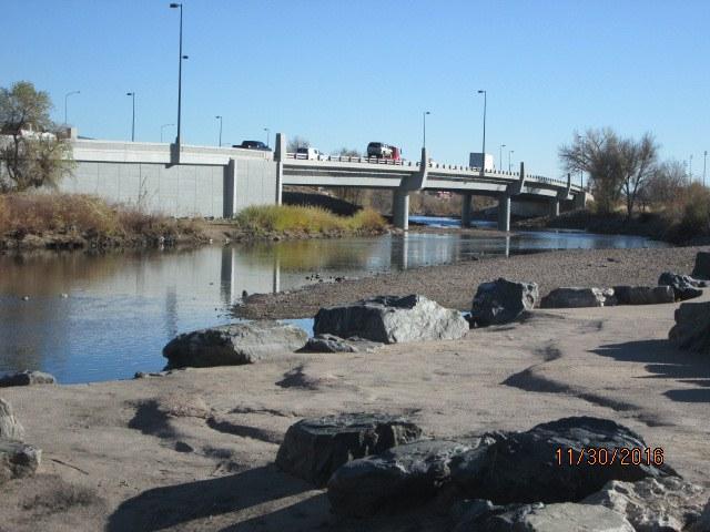 Soutbound Santa Fe with bridge complete
