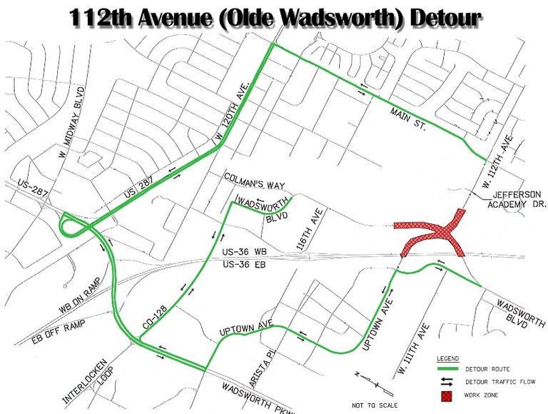 112th & Olde Wadsworth connection detour