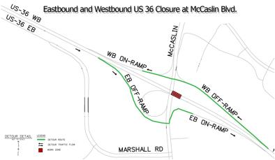 US 36 at McCaslin Blvd Detour