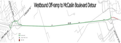Westbound Off-Ramp to McCaslin Blvd Detour
