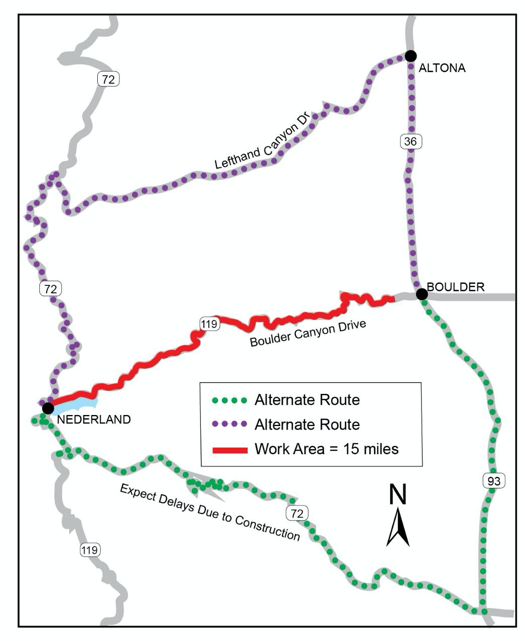CO 119 Boulder Canyon Improvements alternative routes map