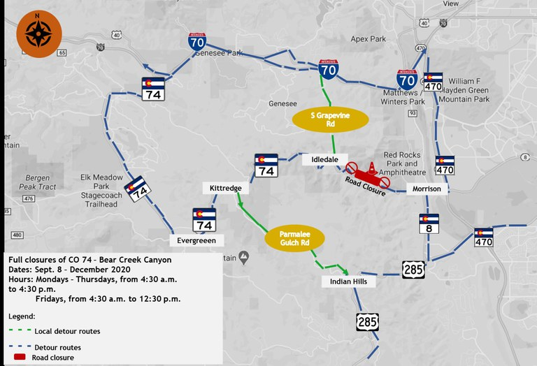 Detour map for CO 74 Rockfall Mitigation project