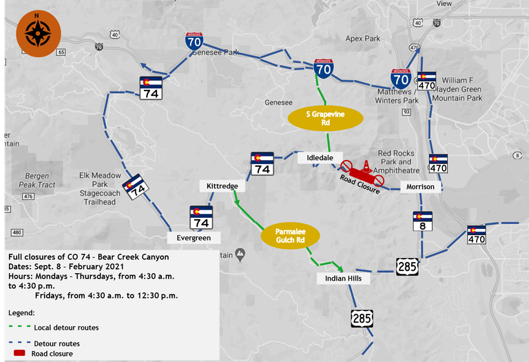 Updated detour map for CO 74 Rockfall Mitigation project
