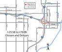 Detour Map: Southbound I-25-E-470-Pecos-Washington