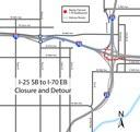 Southbound I-25 to eastbound I-70 closed