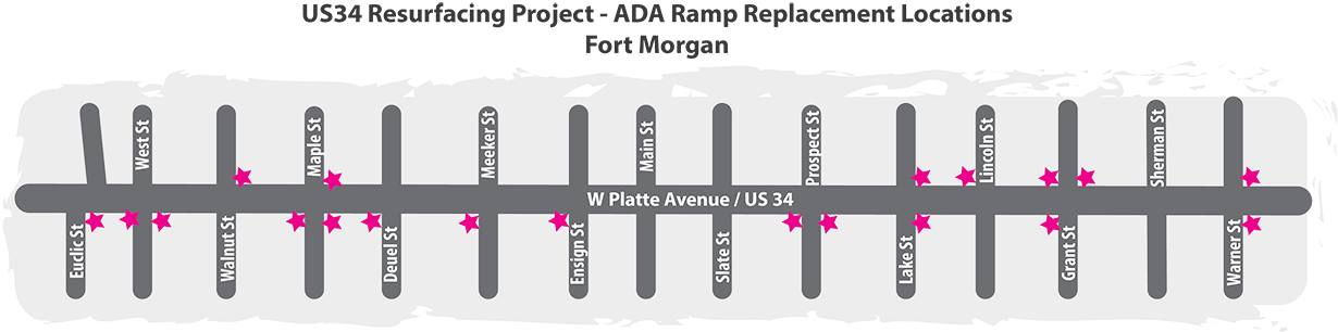 US34 ADA Ramp Locations Map-Fort Morgan.png