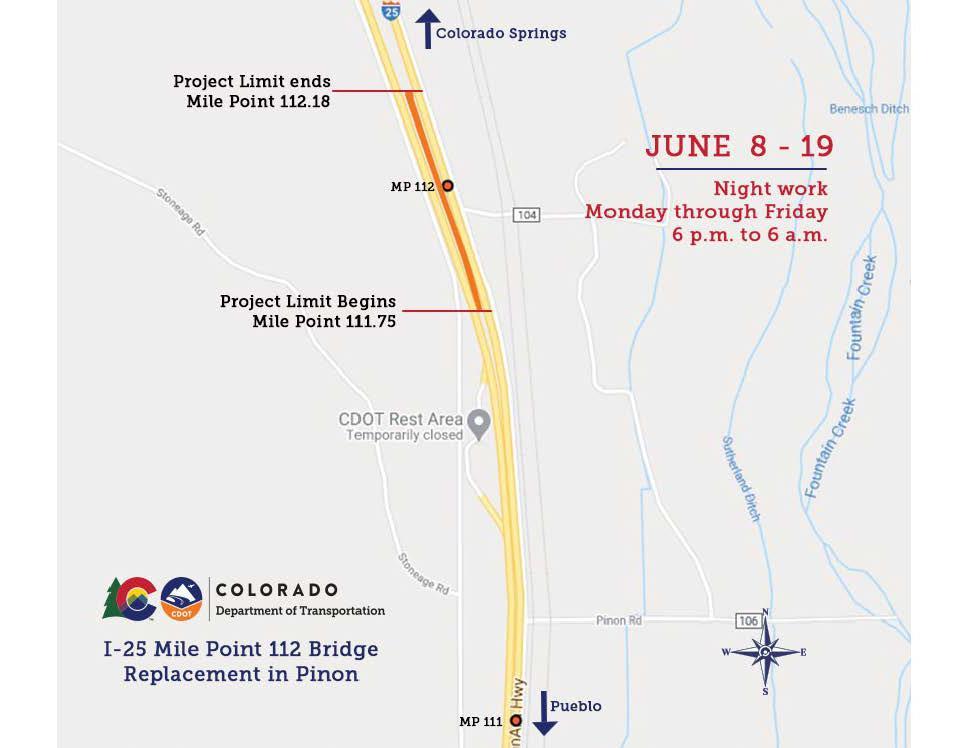 I-25 Pinon Bridge location map detail image