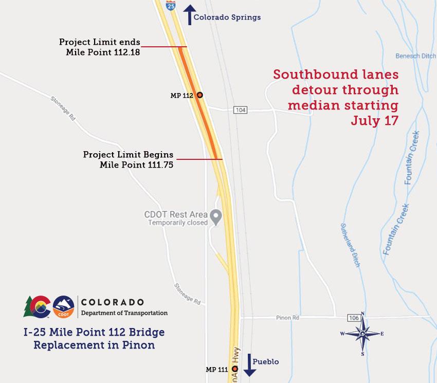 I-25 Pinon Detour Map detail image