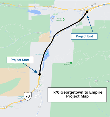 I-70 Georgetown to Empire Project Map
