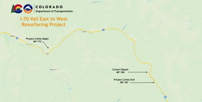 I-70 Vail Resurfacing East to West Project Map