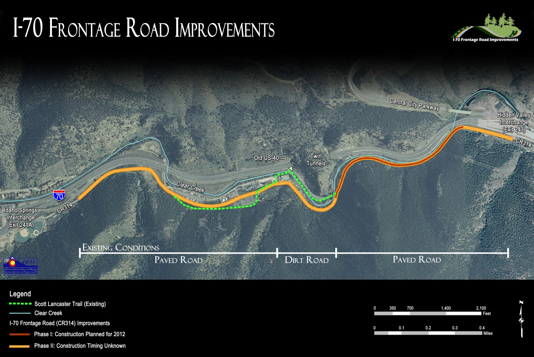 I-70 Frontage Road Phase Map detail image