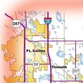 Map of Fort Collins Area