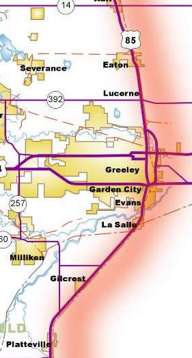 Map of Greeley Area