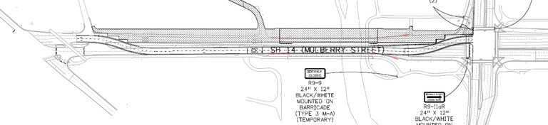 Westbound SH 14 (Mulberry Street) Traffic Switch Phase 1
