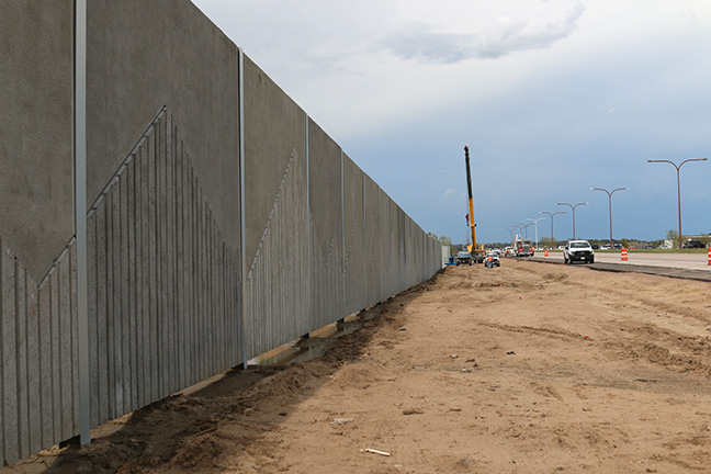 Long view of the sound wall