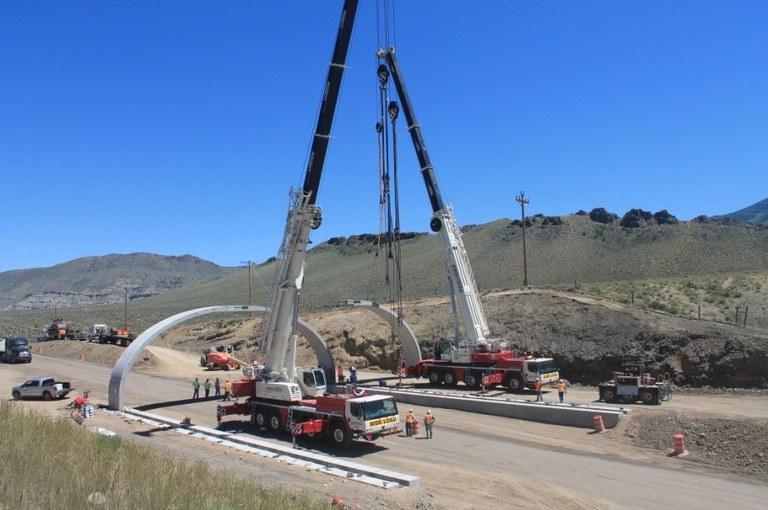 Crews install new wildlife overpass
