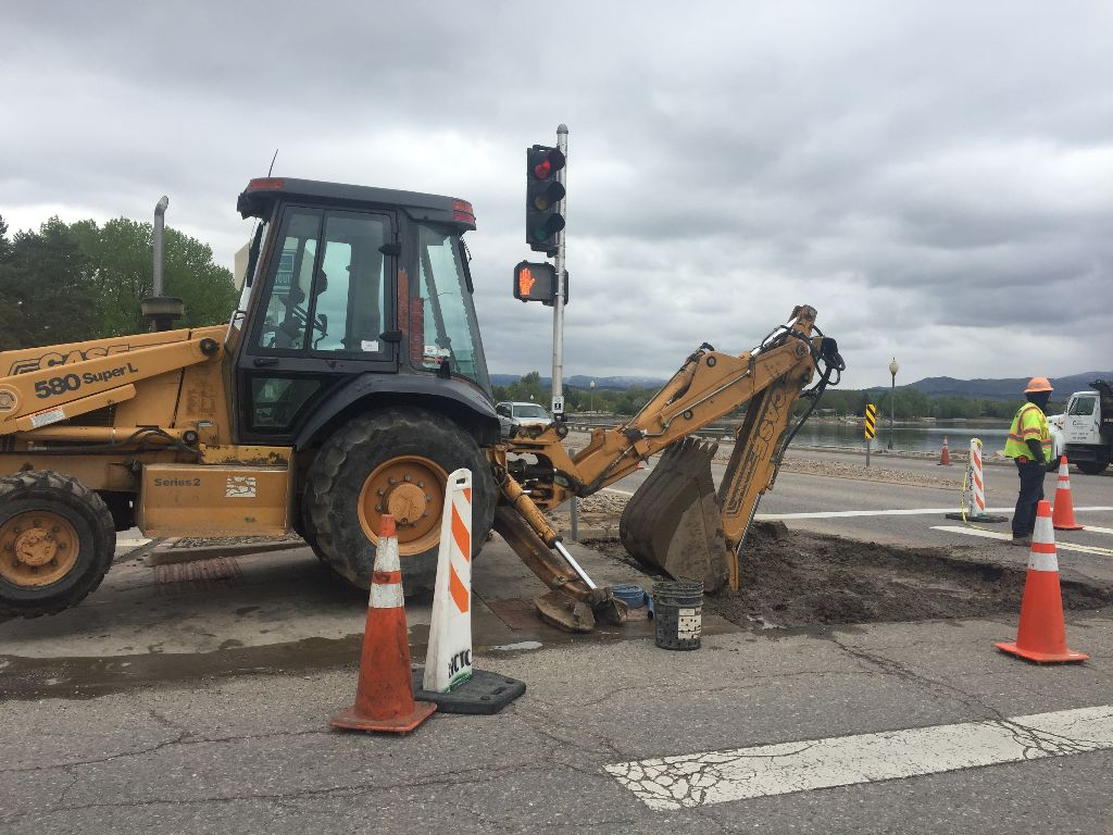Crews remove old ramp to install new ADA-compliant one