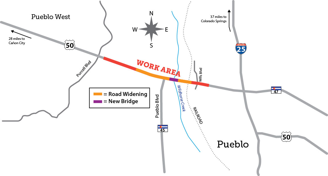 US Westbound From RR Bridge To West Of Pueblo Boulevard - Map of us 50