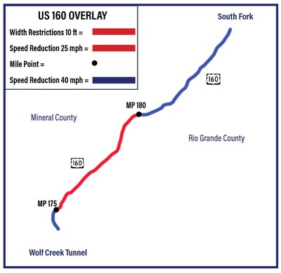 US 160 Overlay Project Map