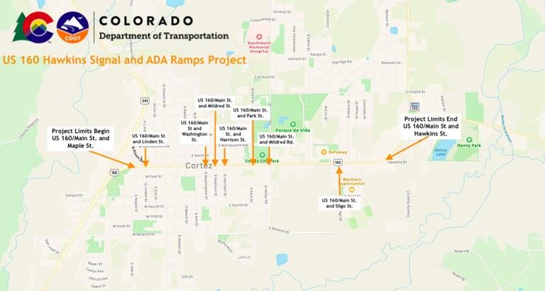 US 160 Cortez ADA Ramp Work Zone Map