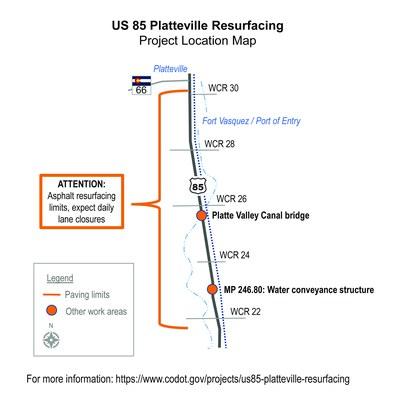 US 85 Platteville Map