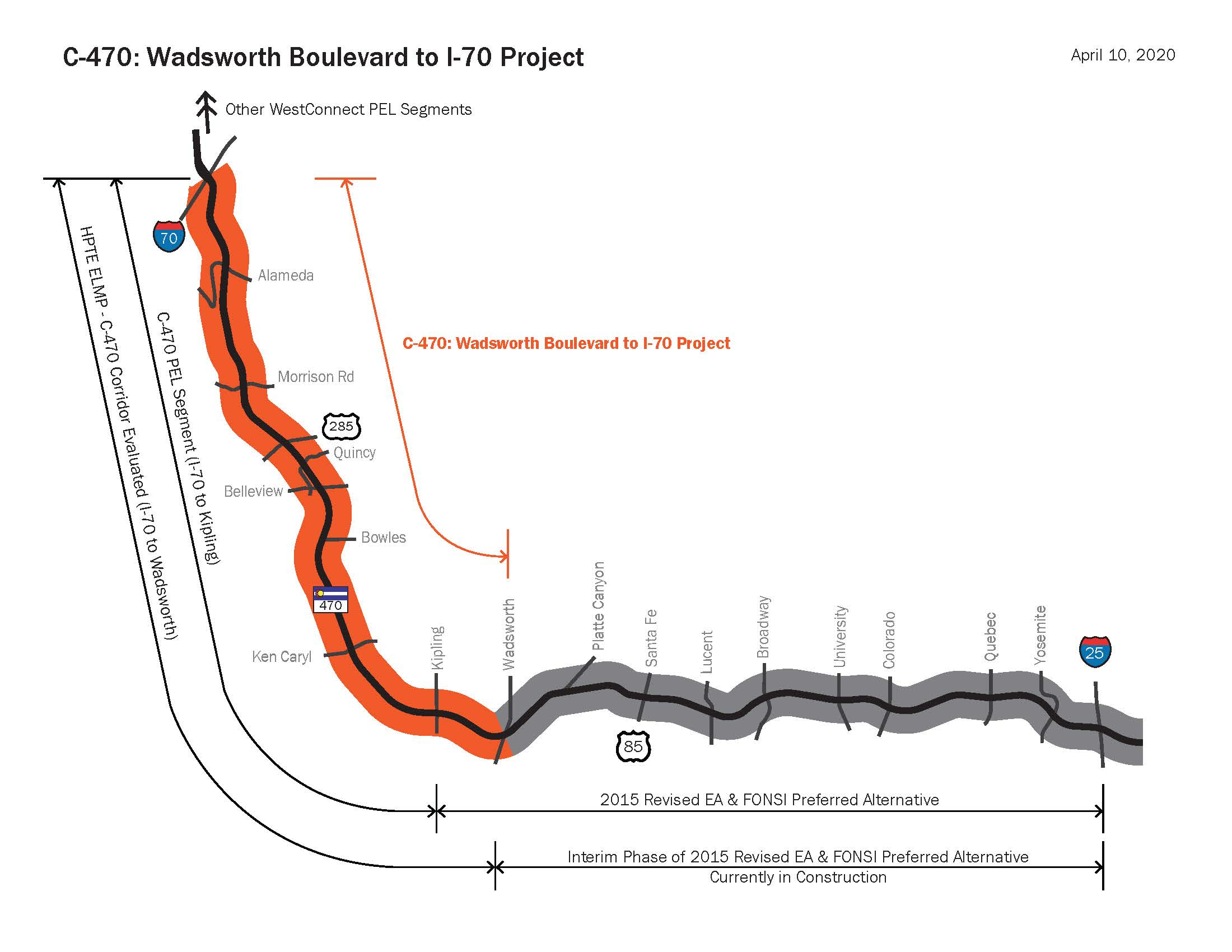 C470 - Wadsworth Boulevard to I-70 NEPA and Preliminary Design map