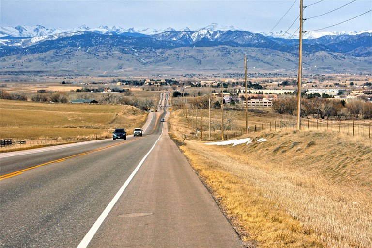 co 52 highway with mountains in the background