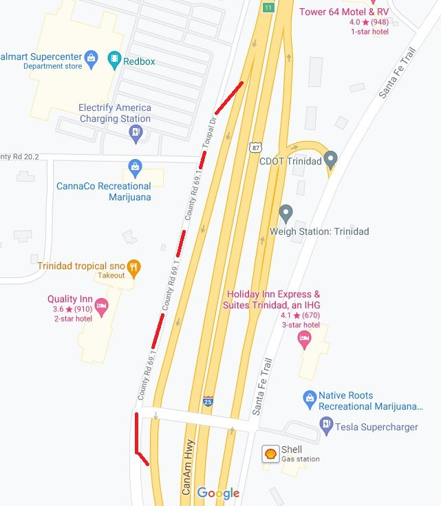 Temporary detour routes shown in red for southbound I-25 on and off ramps at Exit 11. These new configurations will remain in place until further notice.