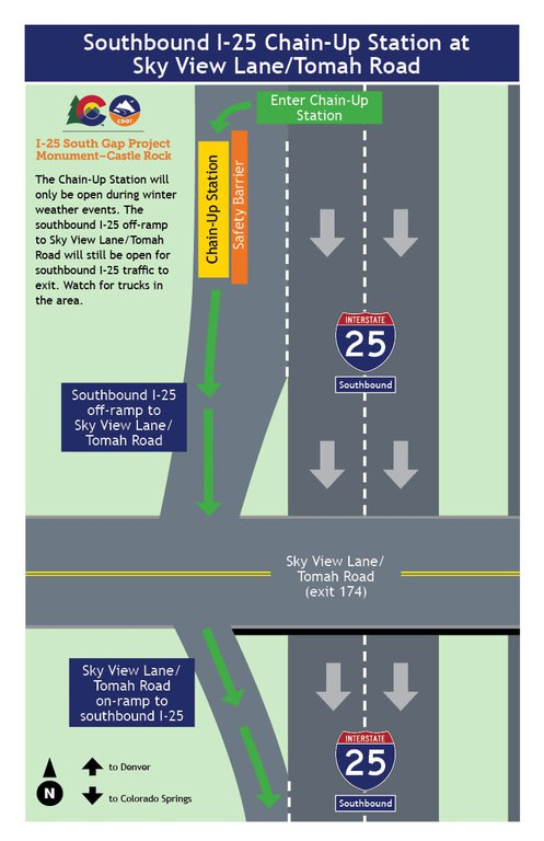 Map showing location of temporary chain-up station near Larkspur on southbound I-25.