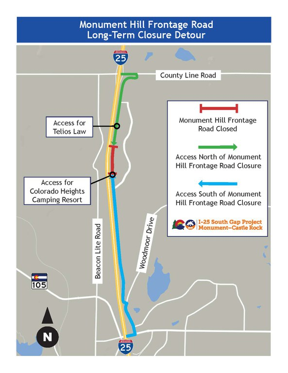 Monument Hill Frontage Road Closure Map