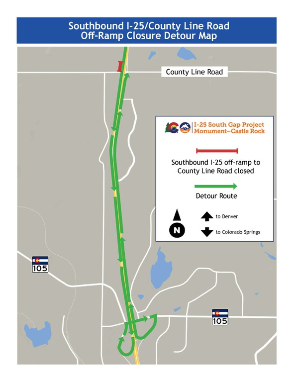 Detour map for closure of southbound I-25 off-ramp