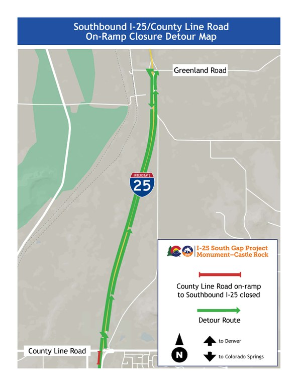 Detour map for closure of southbound I-25 on-ramp from County Line Road.