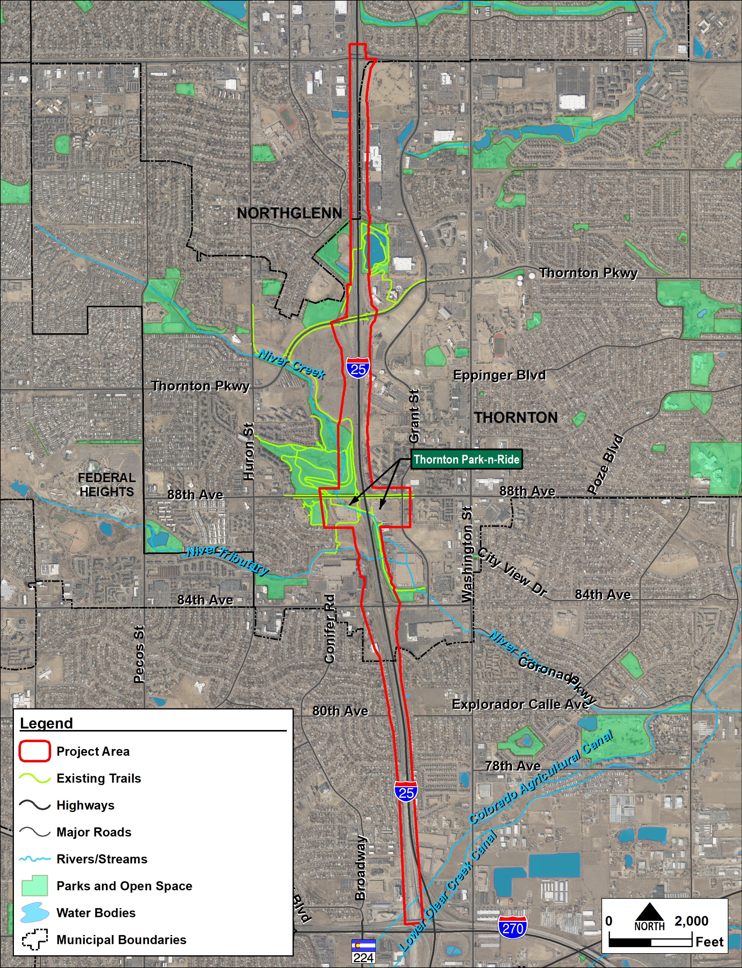 I-25 (US 36 to 104th Ave) Improvements Project Area Map