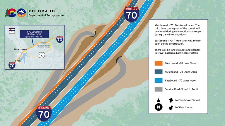 I-70 Structure Replacement Project lane closure illustration